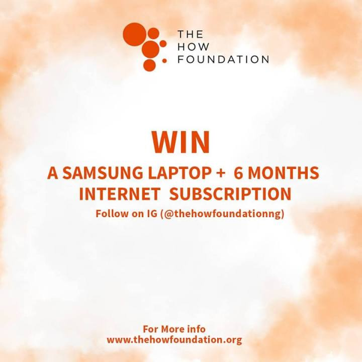 WIN LAPTOP FROM THE HOW FOUNDATION STUDENT COMPETITION