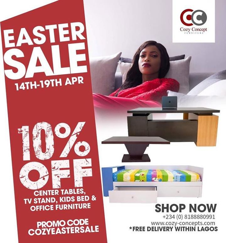 10% OFF FURNITURE AT COZY CONCEPT FURNITURE ONLINE STORE THISEASTER!!!