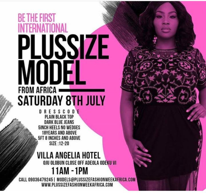 BE THE FIRST INTERNATIONAL PLUS SIZE MODEL IN AFRICA