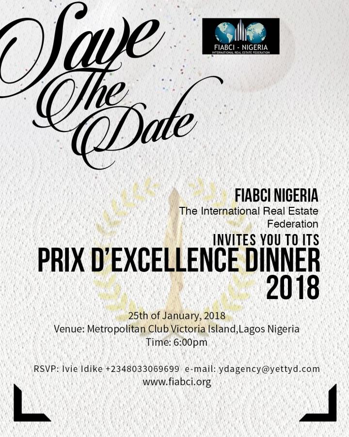 FIABCI NIGERIA – Prix D' Excellence Dinner2018.