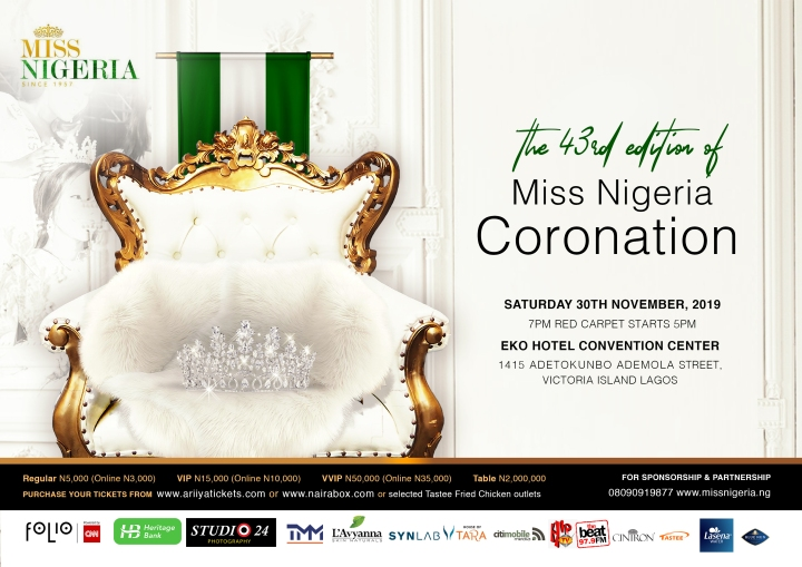 43RD MISS NIGERIA BEAUTY PAGEANT SCHEDULED TO HOLD THIS WEEKEND.