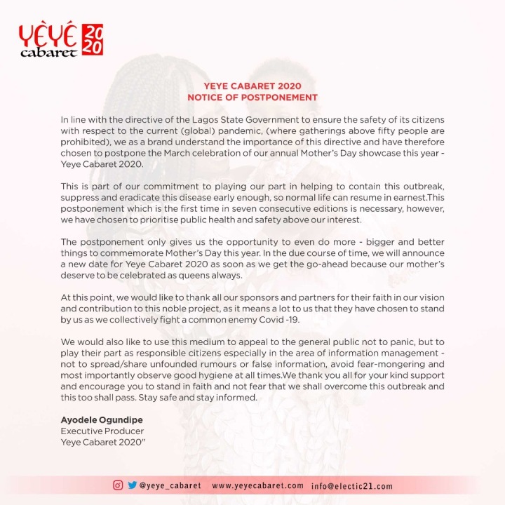 Yeye Cabaret 2020 Postponement