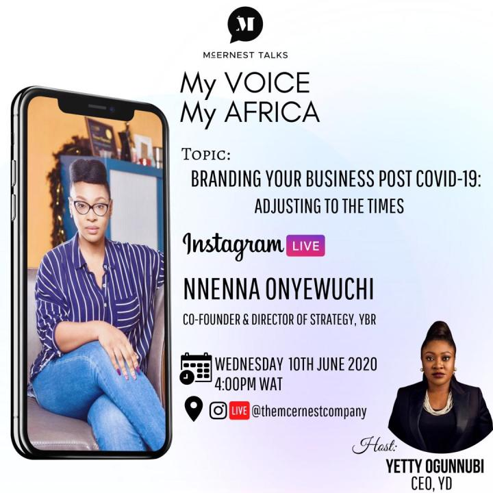 Join our CEO Yetty Ogunnubi hosting My Voice My Africa by McErnest Talks at 4pm Today.