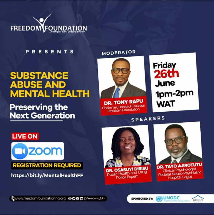 JOIN TONY RAPU AND OTHERS THIS FRIDAY AS THEY DISCUSS SUBSTANCE ABUSE AND MENTAL HEALTH.